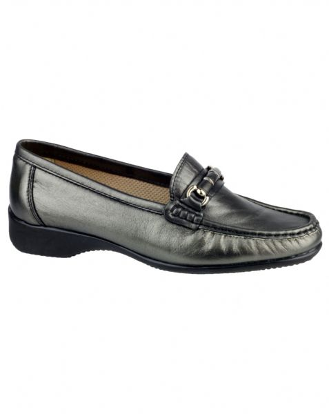 Barrington soft leather pewter moccasin